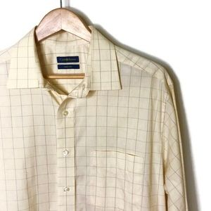 Club Room • Men's Yellow Stripped Button Down (L)